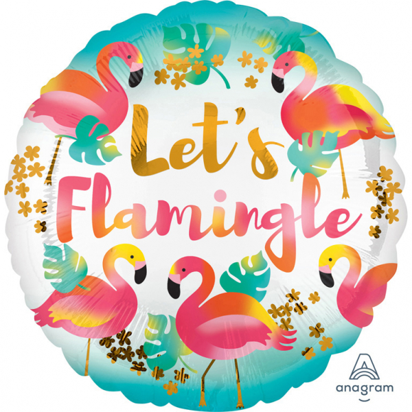 "Folienballon Rund Party ""Let's Flamingle"""