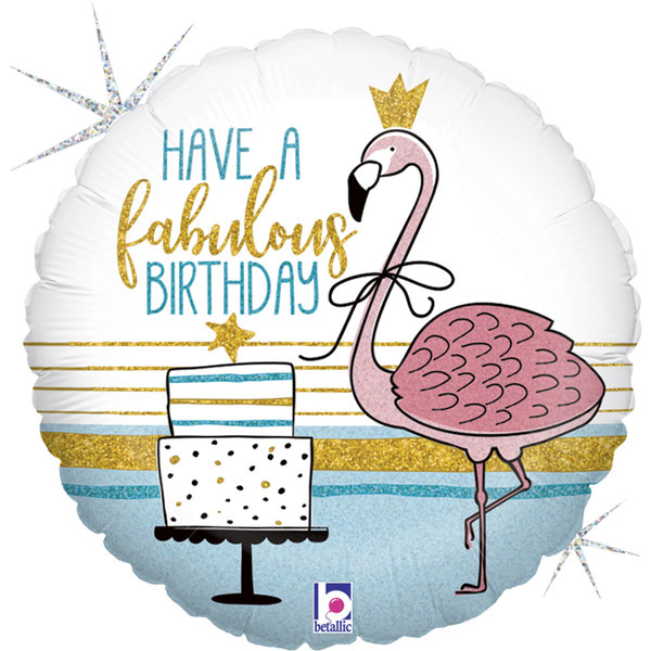 "Folienballon Rund ""Fabulous Birthday"" Flamingo"