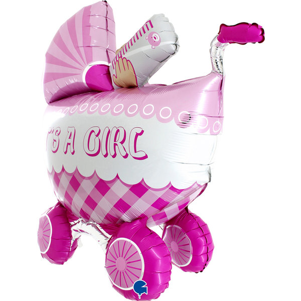 Folienballon Kinderwagen It´s a girl (ohne Heliumfüllung)