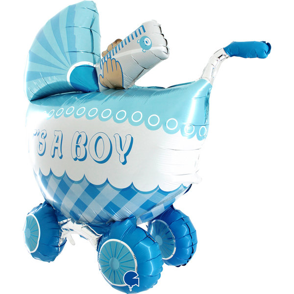 Folienballon Kinderwagen It´s a boy (ohne Heliumfüllung)